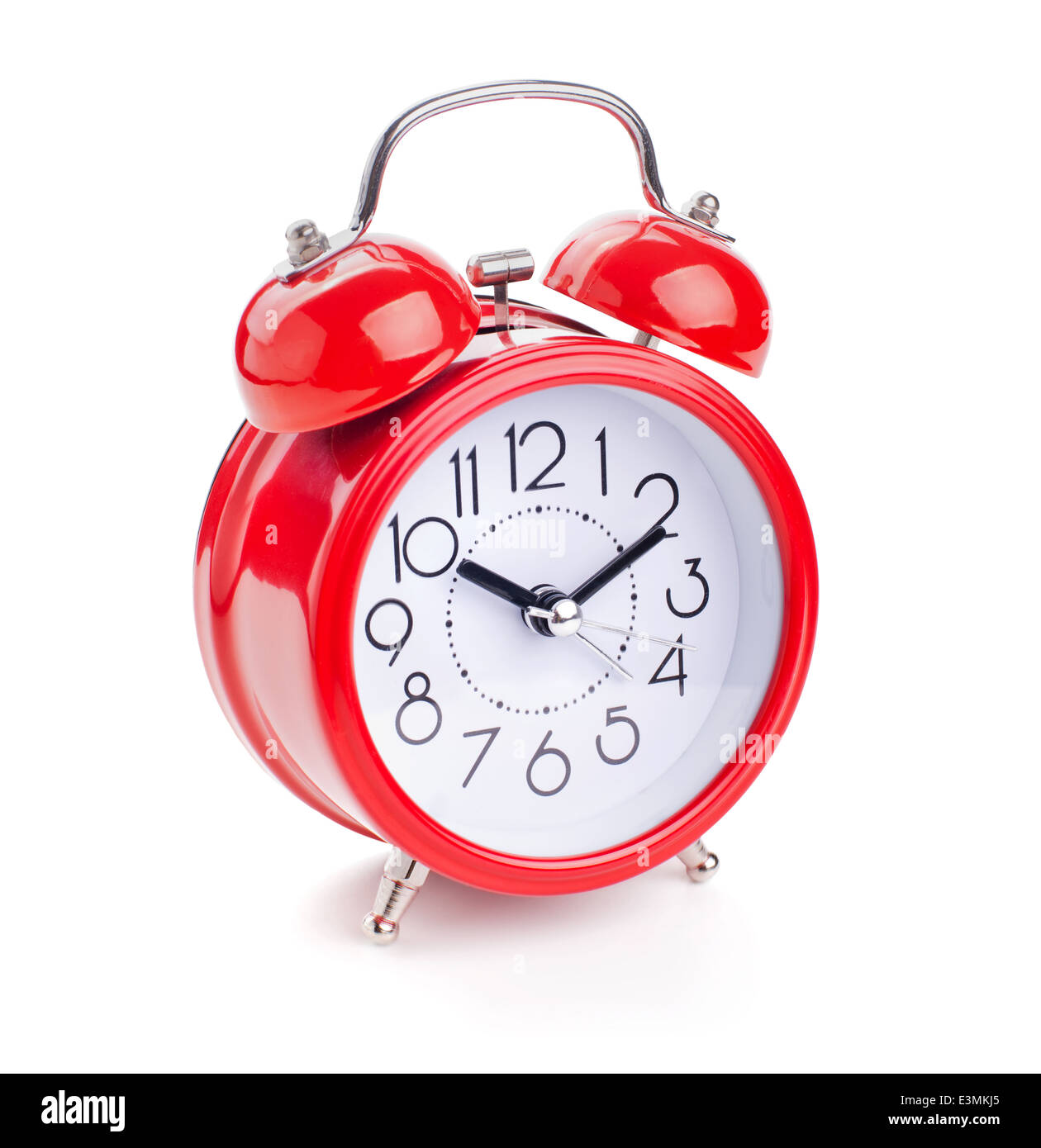 red alarm clock isolated on white background - Stock Image