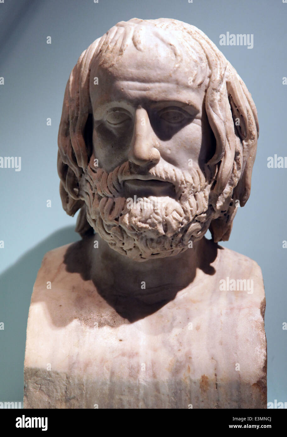 Portrait figure of Euripides 480-406 b.c. - Stock Image