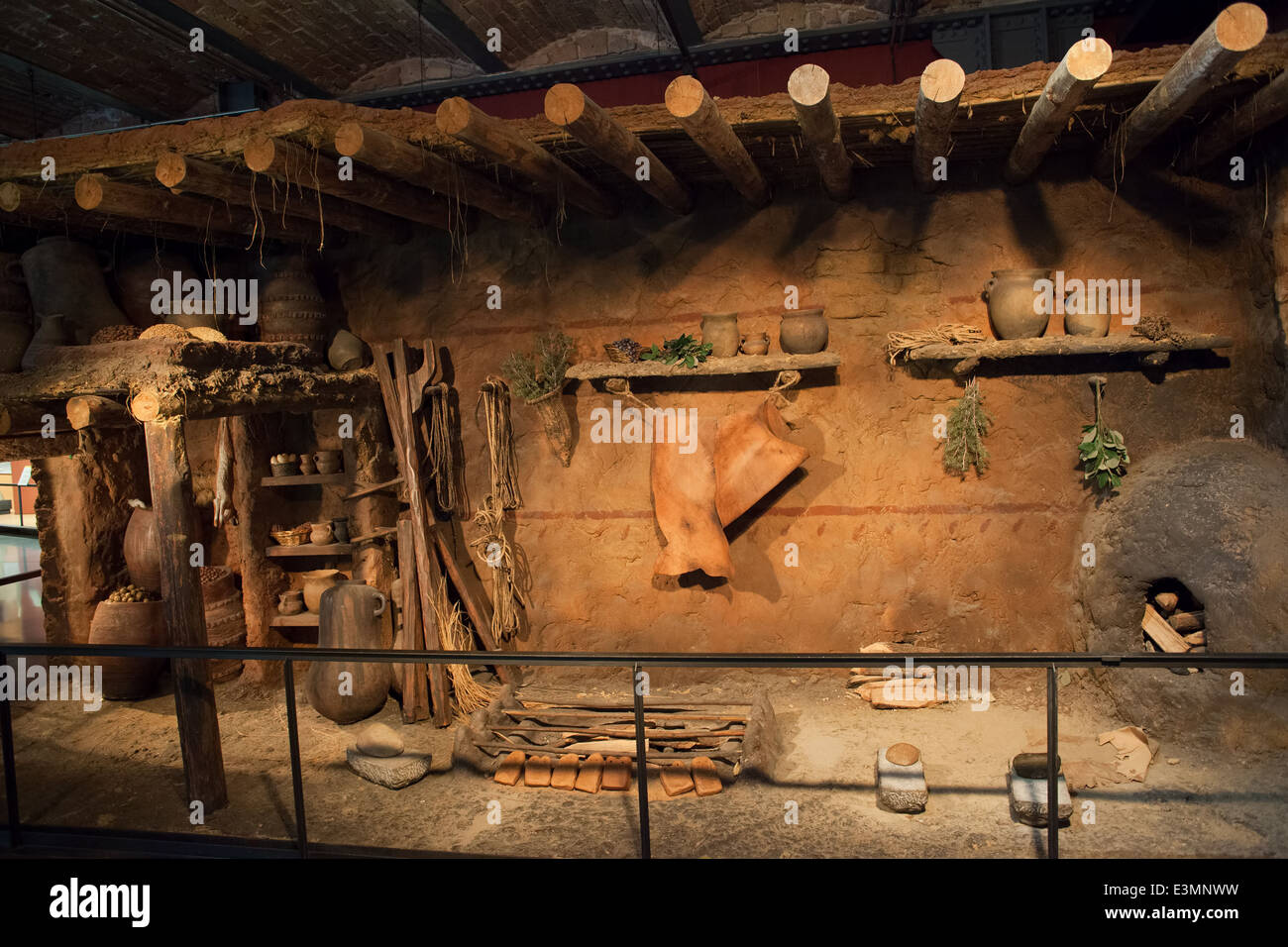Traditional house in the Museum of the History of Catalonia interior in Barcelona, Spain. - Stock Image