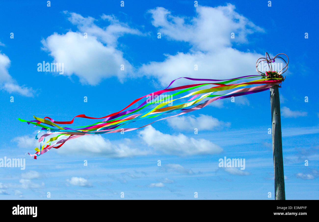Maypole Beltane Ribbons Flowing in the Wind - Stock Image