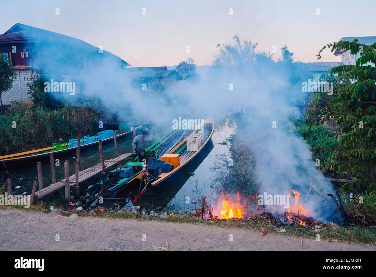 At the canal, Nyaung Shwe, Myanmar, Asia - Stock Image