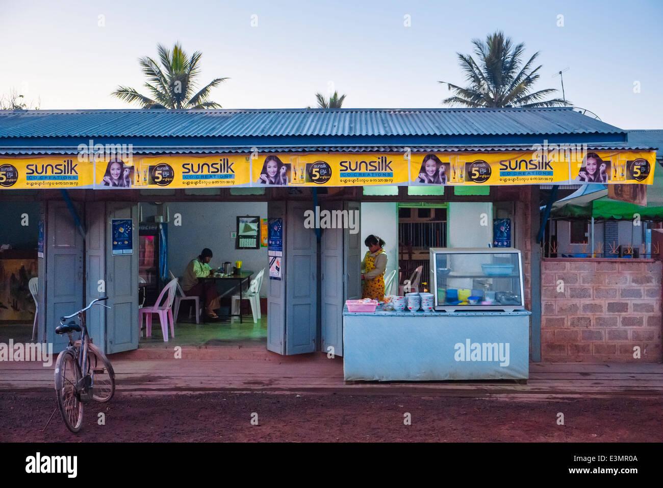 Restaurant, Nyaung Shwe, Myanmar, Asia - Stock Image