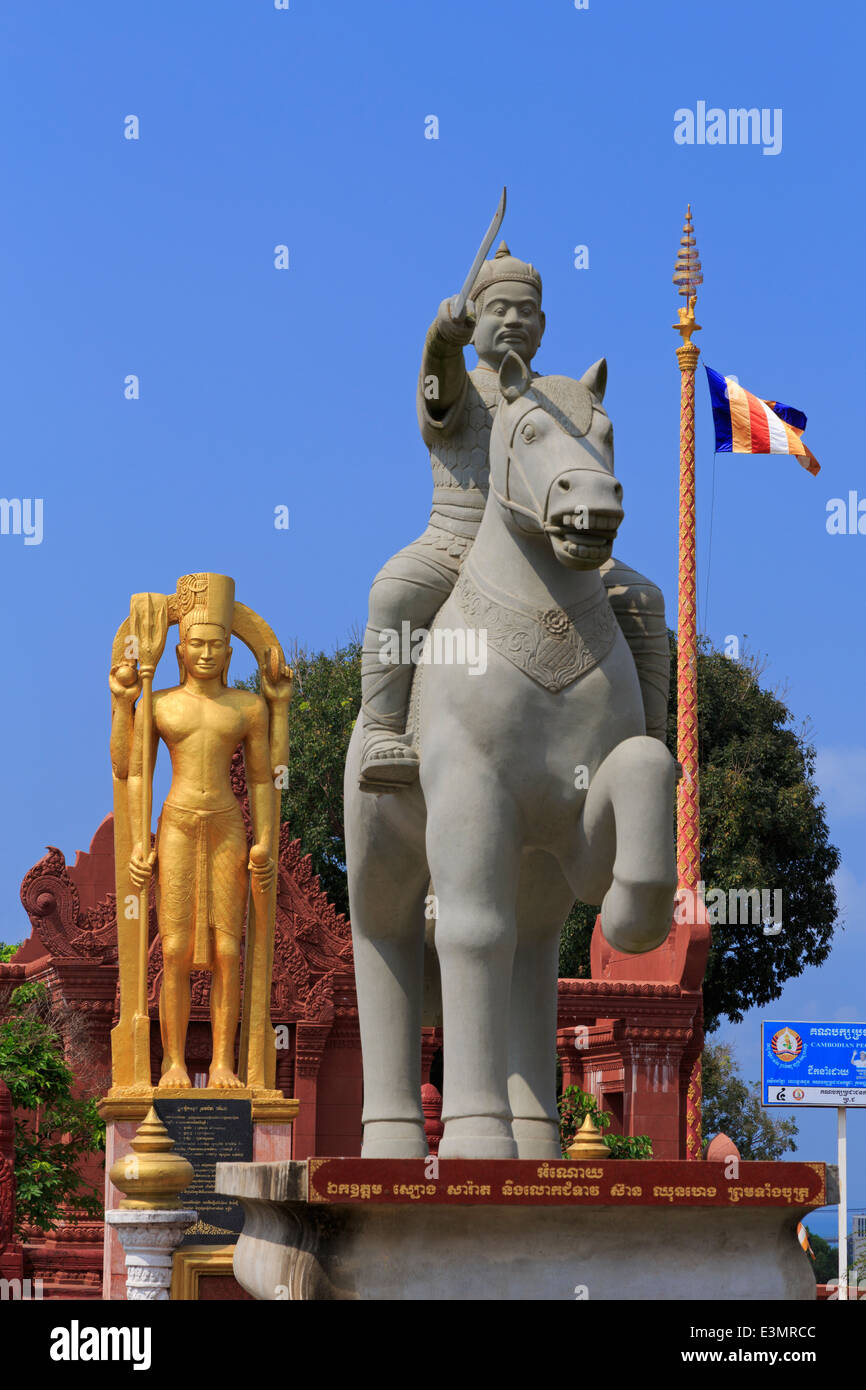 Statue in Independence Square, Sihanoukville Port, Sihanouk Province, Cambodia, Asia - Stock Image