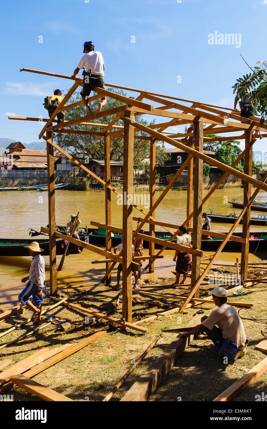 Construction works, Nyaung Shwe, Myanmar, Asia - Stock Image