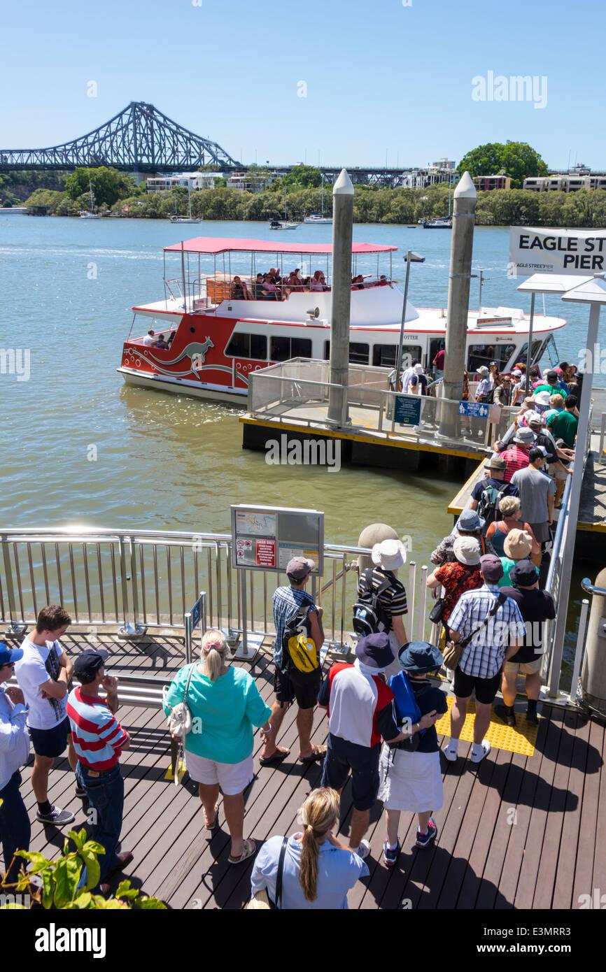 Brisbane Australia Queensland Central Business District CBD Eagle Street Pier Brisbane River Story Bridge line queue - Stock Image