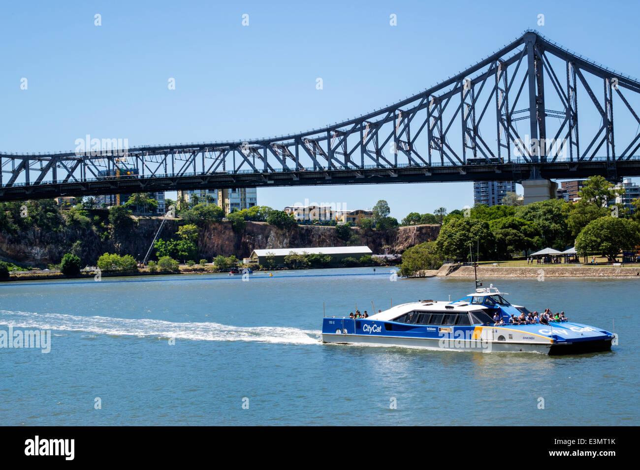 Brisbane Australia Queensland Brisbane River Story Bridge CityFerries ferry TransLink Trans Link CityCat public - Stock Image
