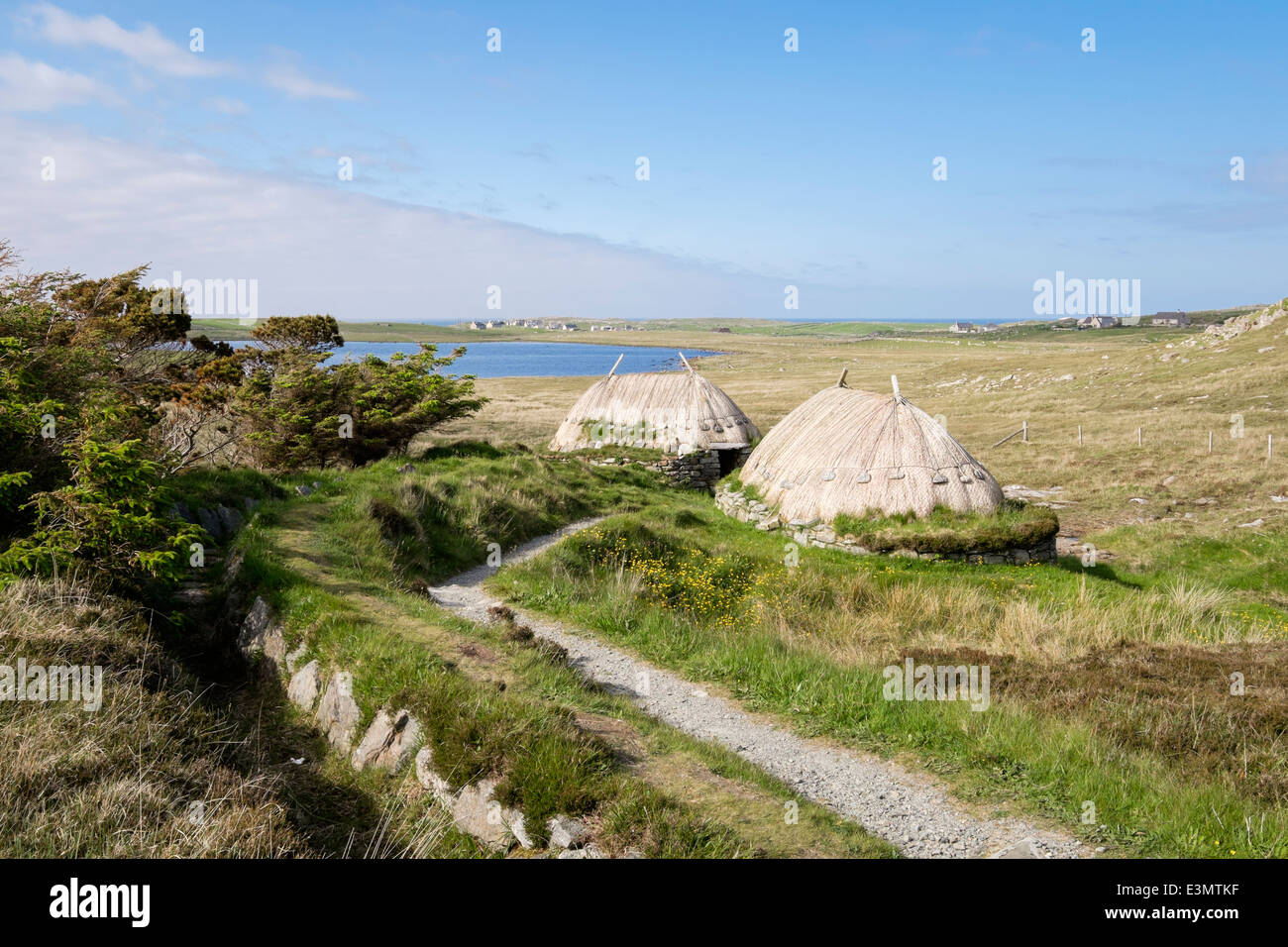 Path and water course to Shawbost Iron Age Norse Mill & Kiln historic site. Isle of Lewis Outer Hebrides Western - Stock Image
