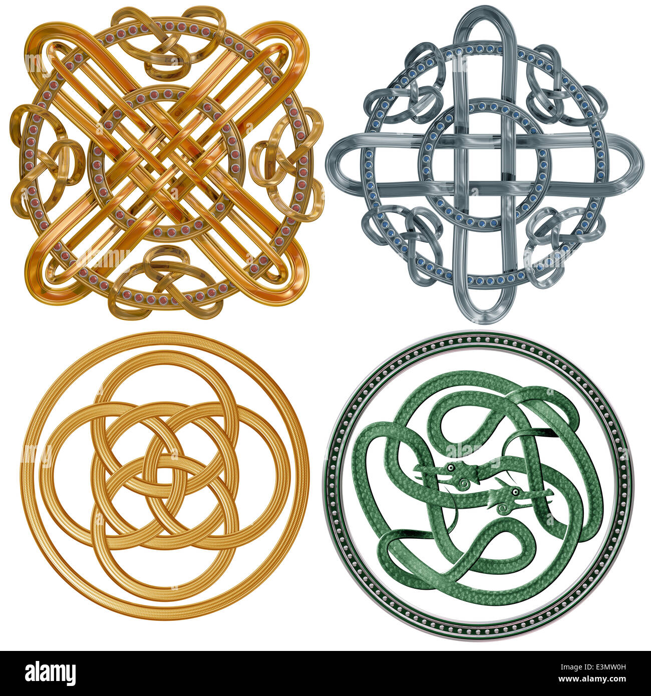 A collection of intricate Celtic Knots based on a circle - Stock Image