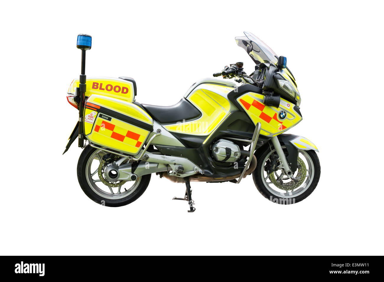 A cut out of a BMW, emergency blood & human tissue delivery motorcycle - Stock Image