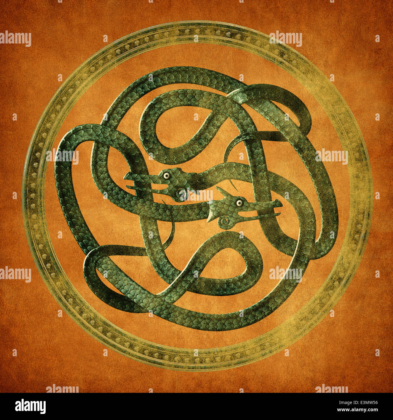 Green Serpent Celtic Knot on an old parchment document - Stock Image