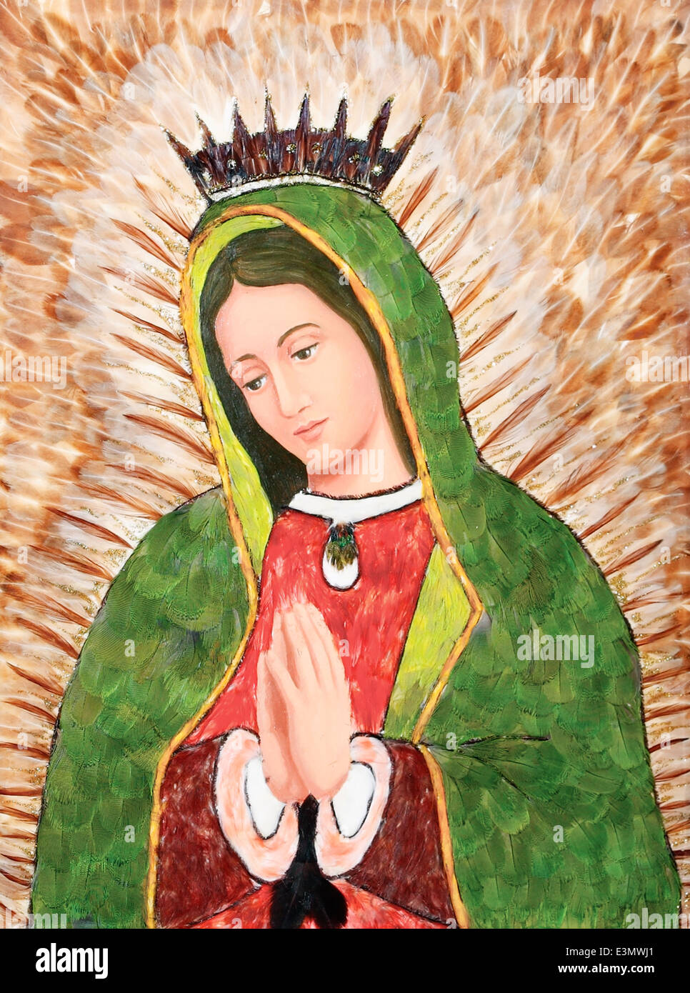 Virgin of Guadalupe Image Made with Feathers by Carmen Nuñez, Mexico - Stock Image