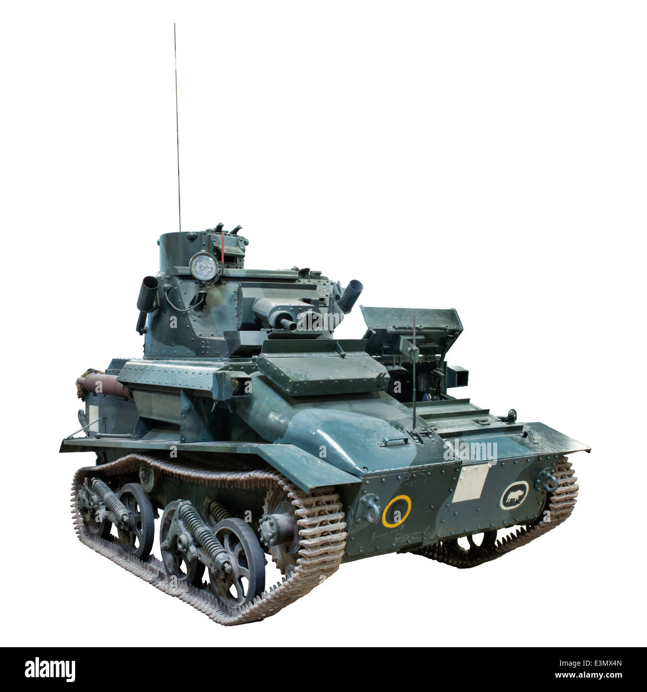 A Cut out of a British Army Vickers - Armstrong Mk IV light tank used during WW2 by allied forces - Stock Image