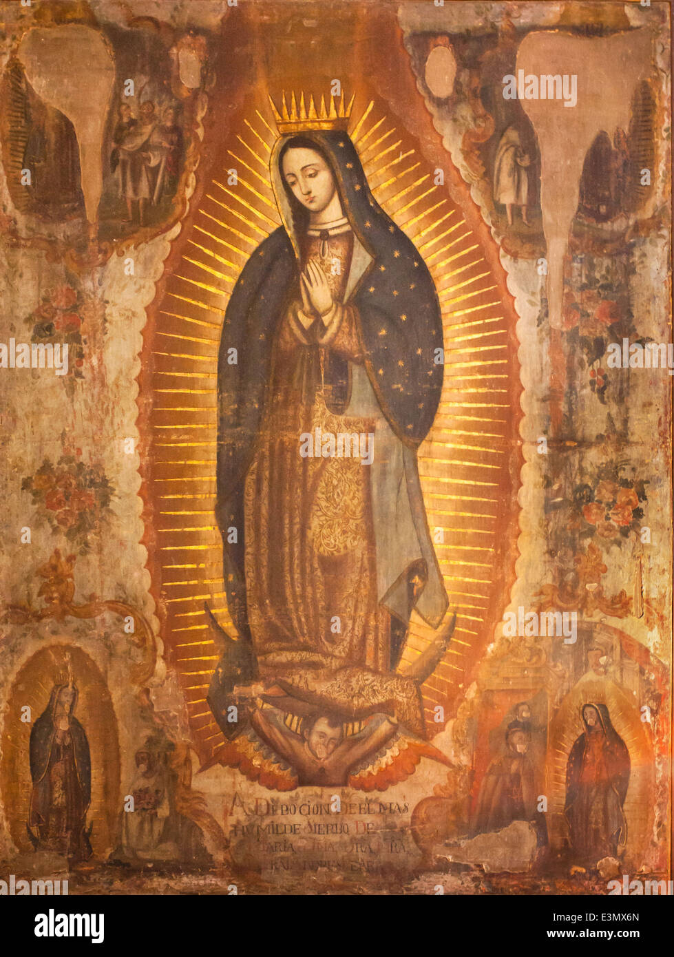 18th century oil painting of the Virgen of Guadalupe in the ex convent of San Agustin, Yuriria, Guanajuato. Artist Stock Photo