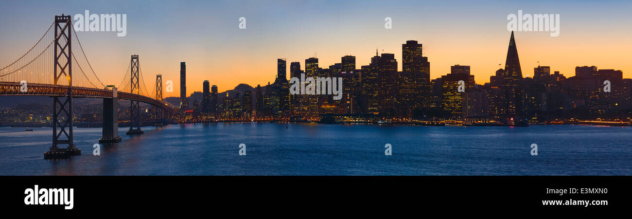 The BAY BRIDGE and the city at sunset - SAN FRANCISCO, CALIFORNIA Stock Photo