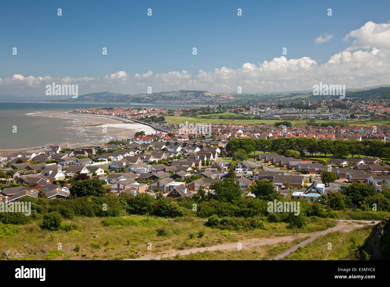 Penrhyn Bay on the North Wales coast viewed from the top of the Little Orme headland - Stock Image