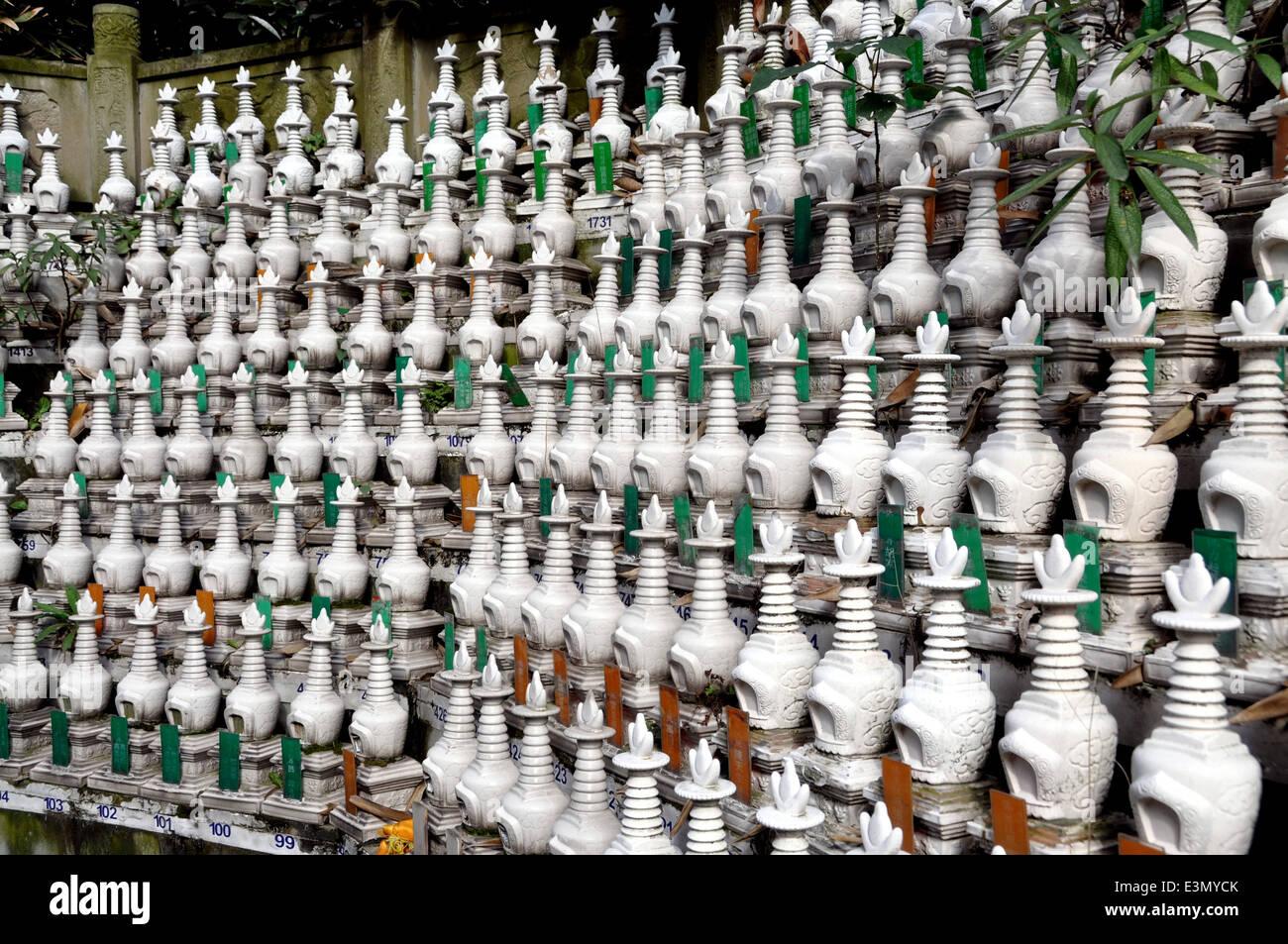 Pengzhou, China: Burial Urns at Ci Ji Temple Stock Photo