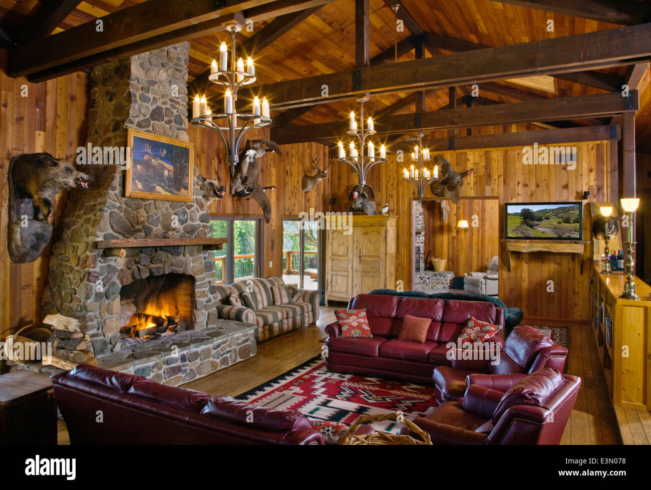 Interior Of A HUNTING LODGE GREAT ROOM