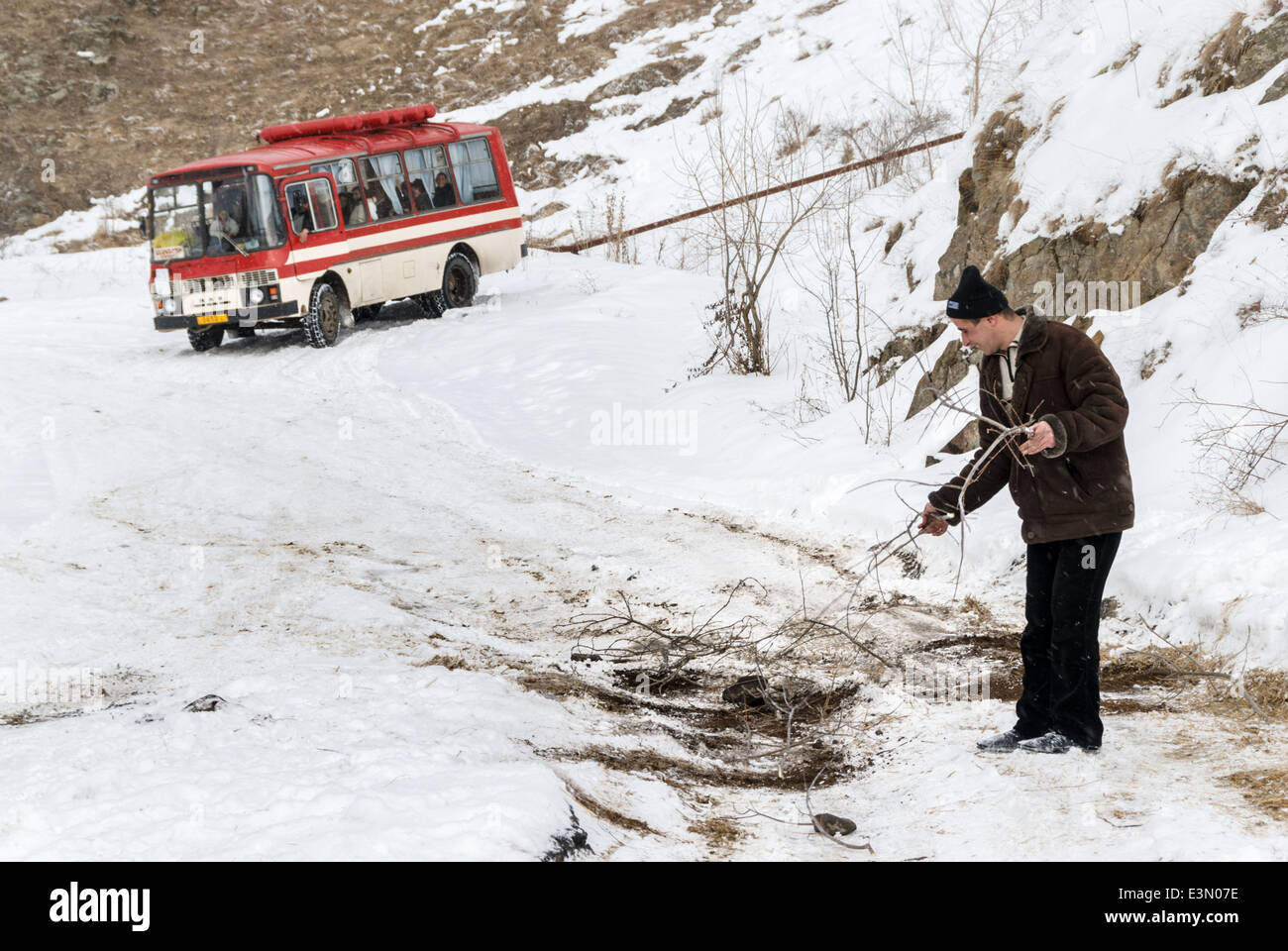 Man setting branches on the road to help a bus passing over a slippery patch on the road, Armenia - Stock Image