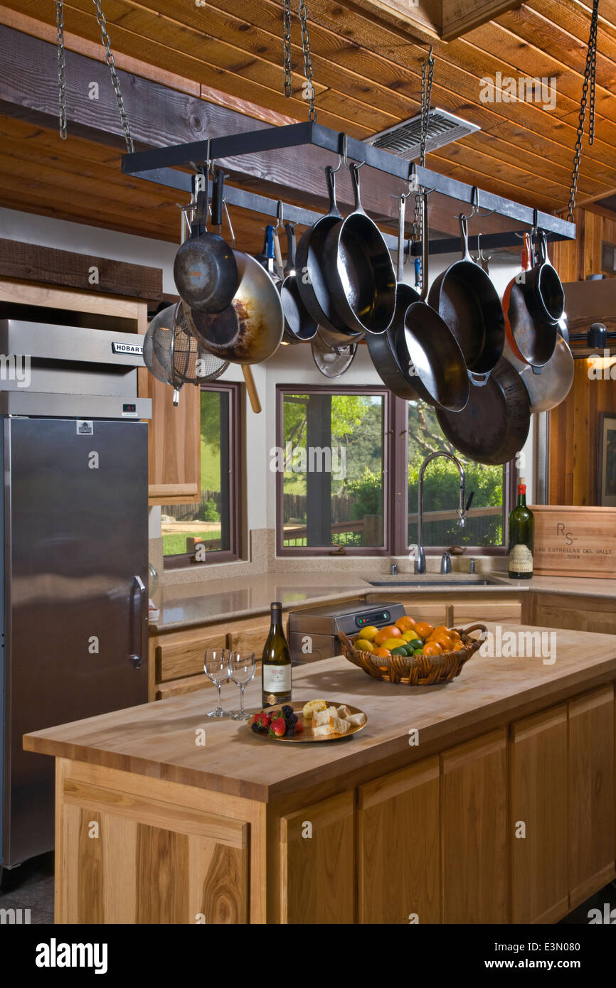 Interior of a HUNTING LODGE KITCHEN - CENTRAL, CALIFORNIA Stock Photo