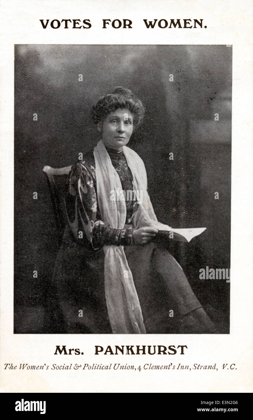 Mrs Pankhurst, 1908 postcard portrait of the leader of the Womens Suffrage movement in Britain - Stock Image
