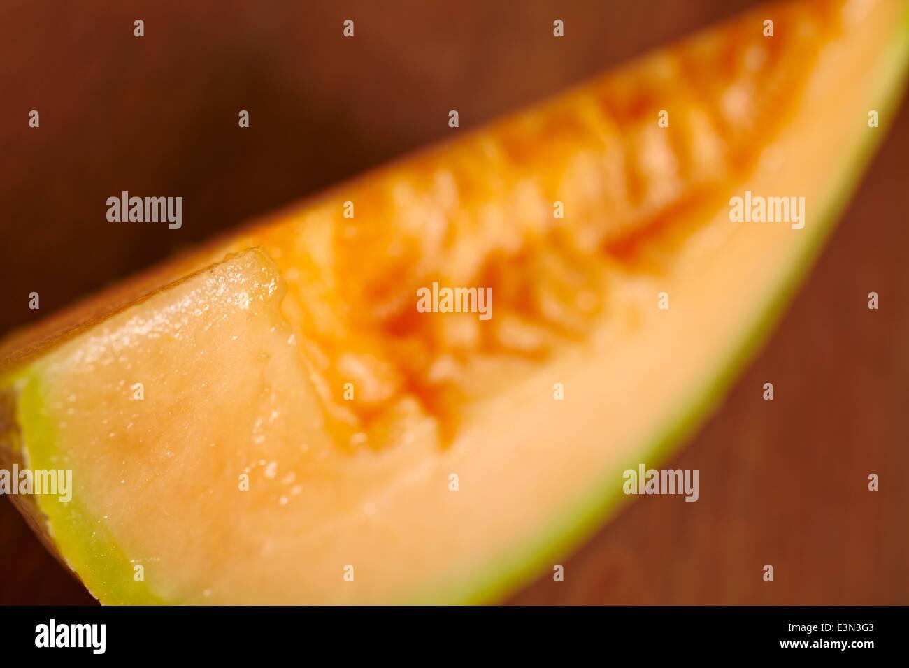 Slice of Cantaloupe - Stock Image