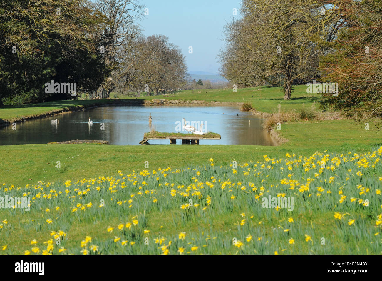 The Fountain and watergarden at Stanway, a traditional English Village in the heart of the Cotswolds, Gloucestershire, Stock Photo