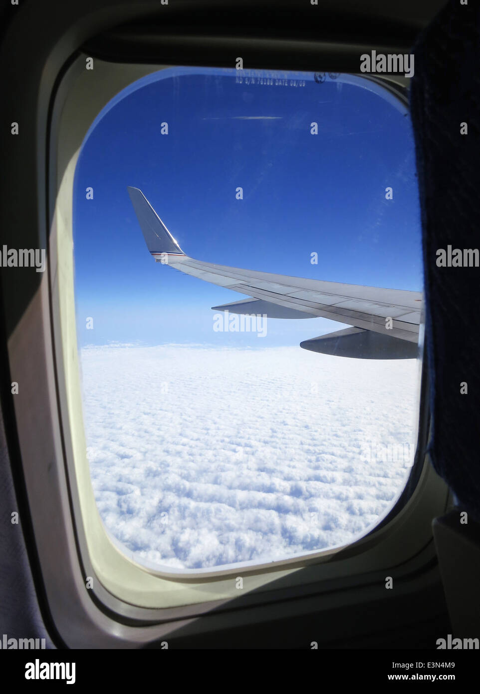 View out of airline window while flying across the United States of America. - Stock Image