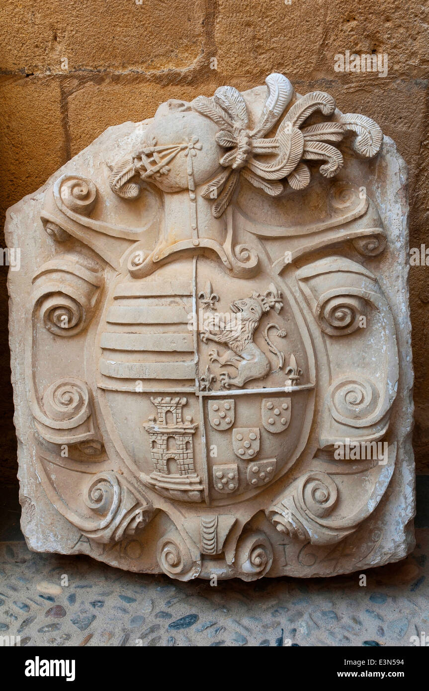 Heraldic shield, The Cabildo Houses, La Mota Fortress, Alcala la Real, Jaen-province, Region of Andalusia, Spain, - Stock Image