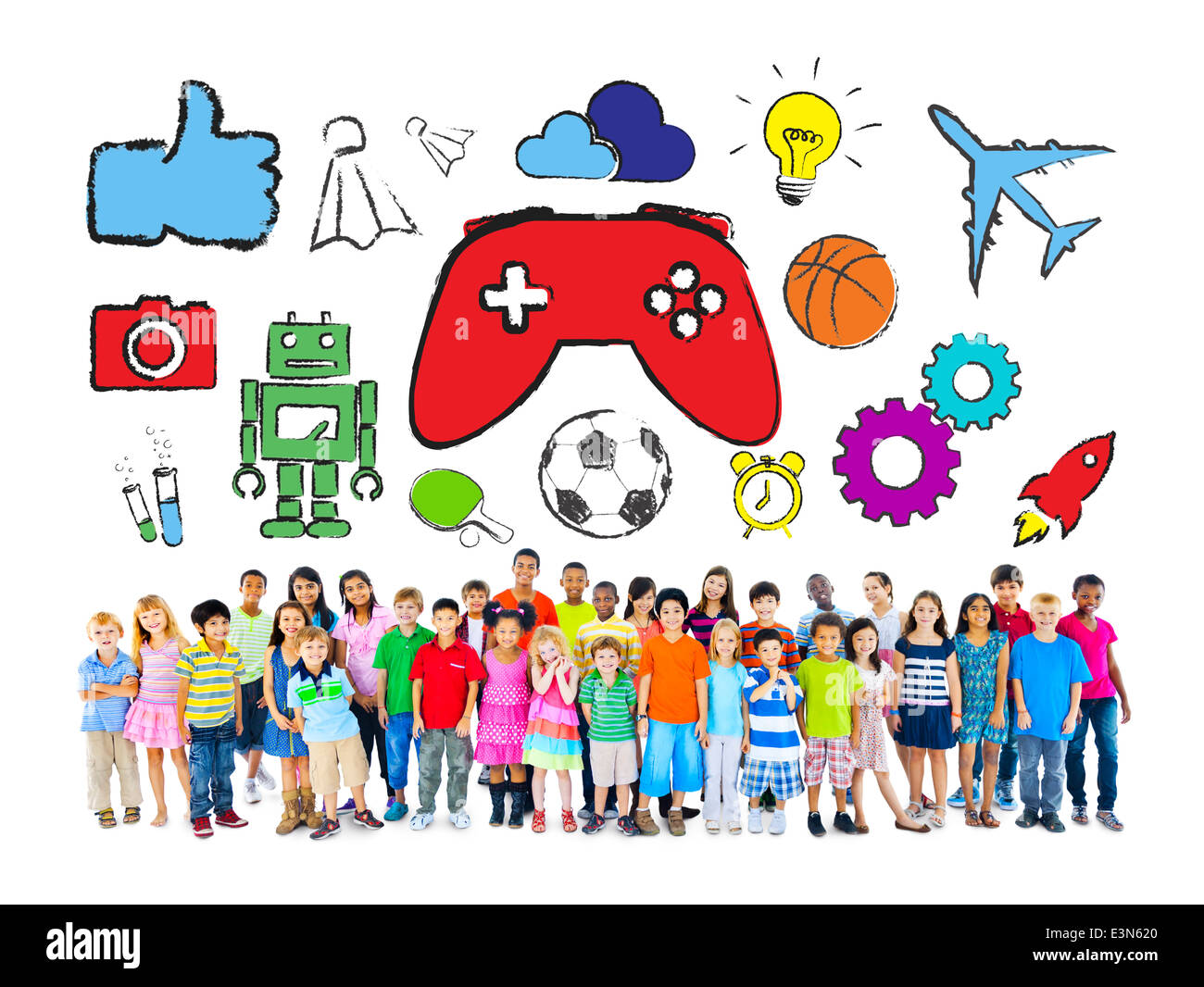 Diverse Group of Children with Hobbies - Stock Image