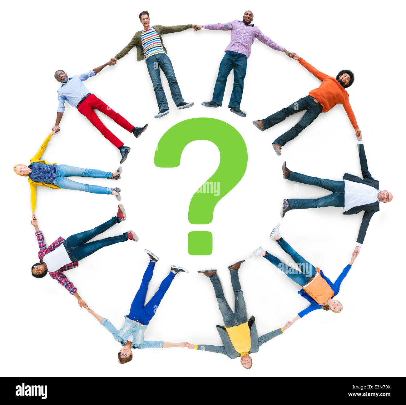 Multiethnic People Holding Hands with Question Mark - Stock Image