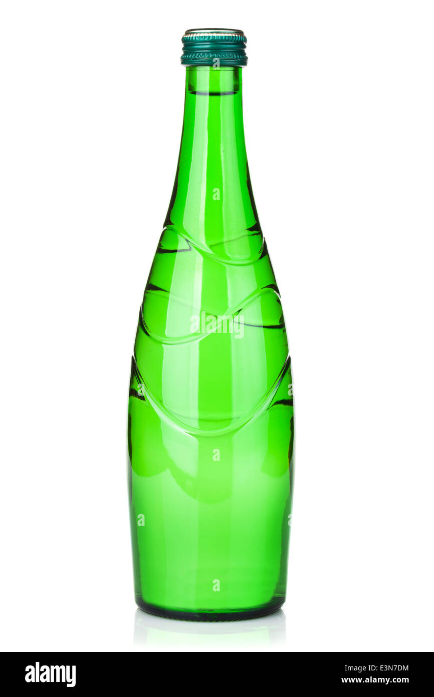 Glass water bottle. Isolated on white background - Stock Image