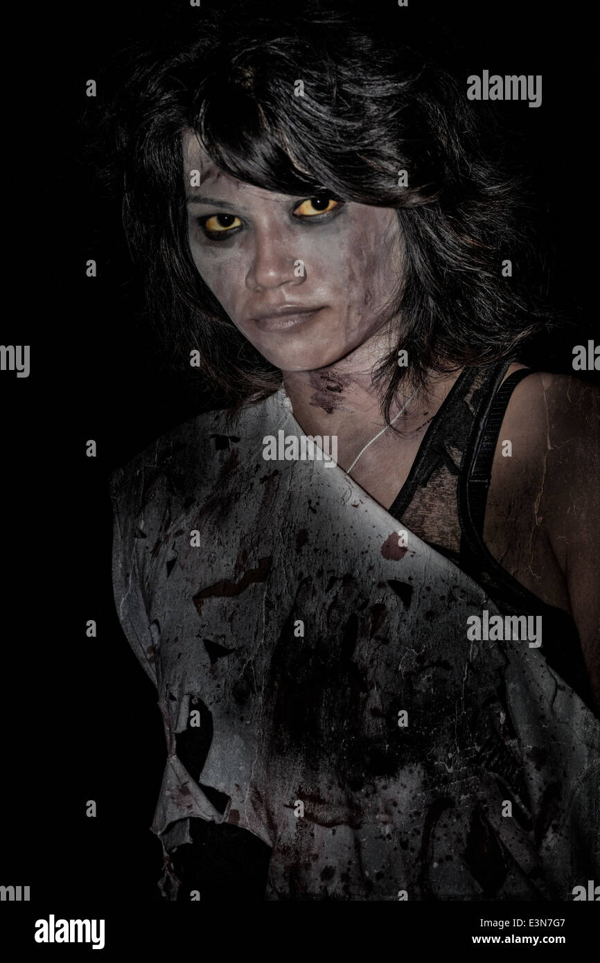 Female Vampire. Painterly and grunge effect image  - Halloween event - Stock Image