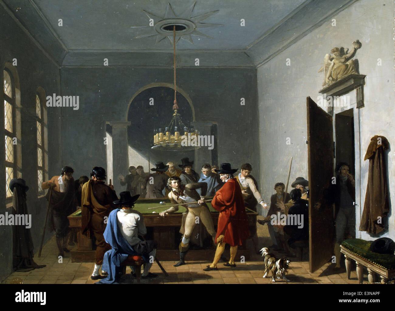 Nicolas Antoine Taunay - The Billiard Room - 1808 - MET Museum - New-York - Stock Image