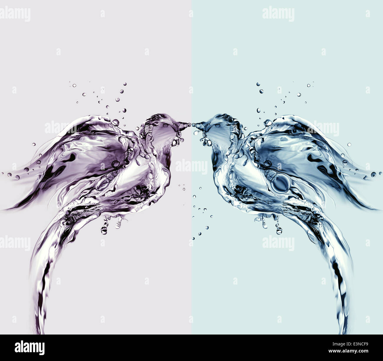 Two birds made of water kissing. - Stock Image