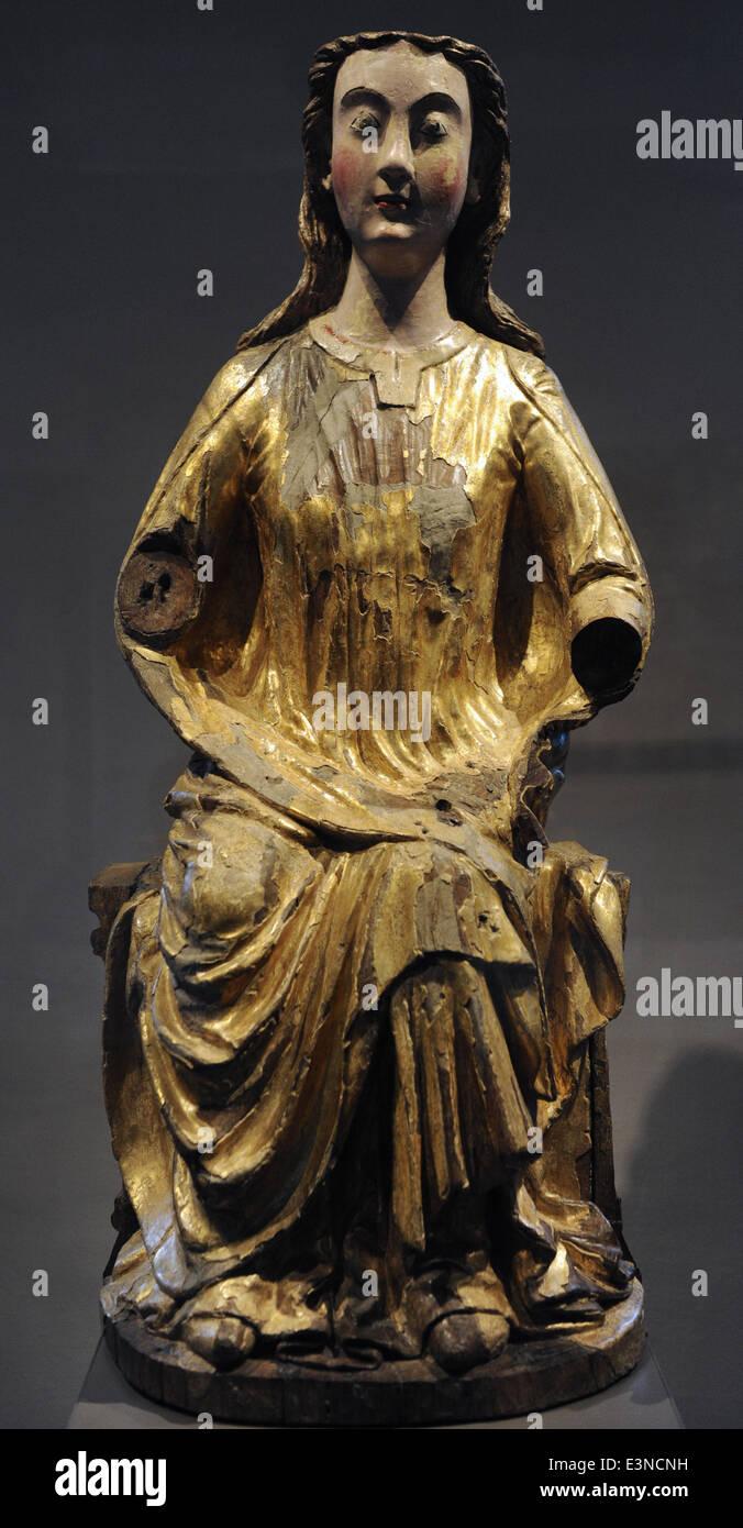 Gothic art. Mary in the seat of wisdom. Maasgebied, 1240. Museum Catharijneconvent. Utrecht. Netherlands. - Stock Image
