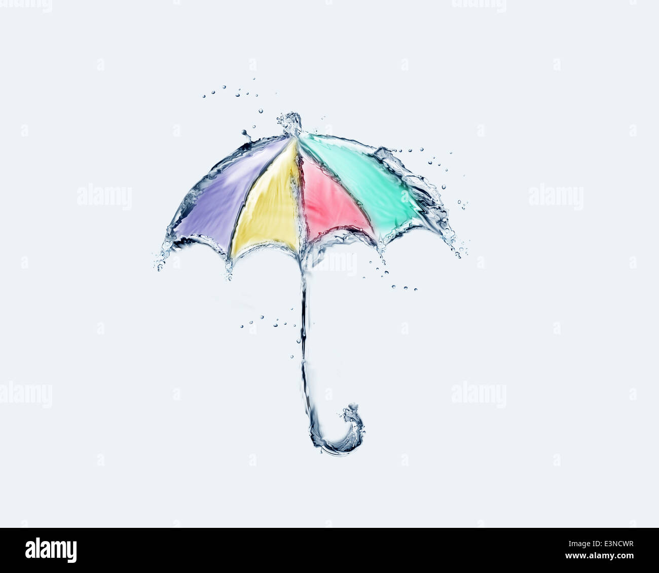 A colored umbrella made of water. - Stock Image