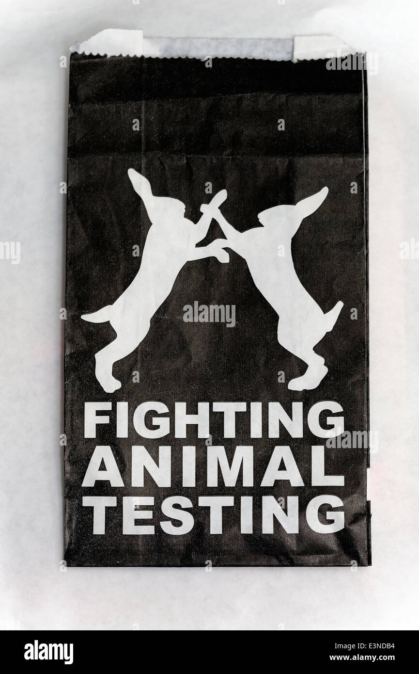 57f52b9b08 A lush paper bag promoting the fighting against animal testing Stock ...