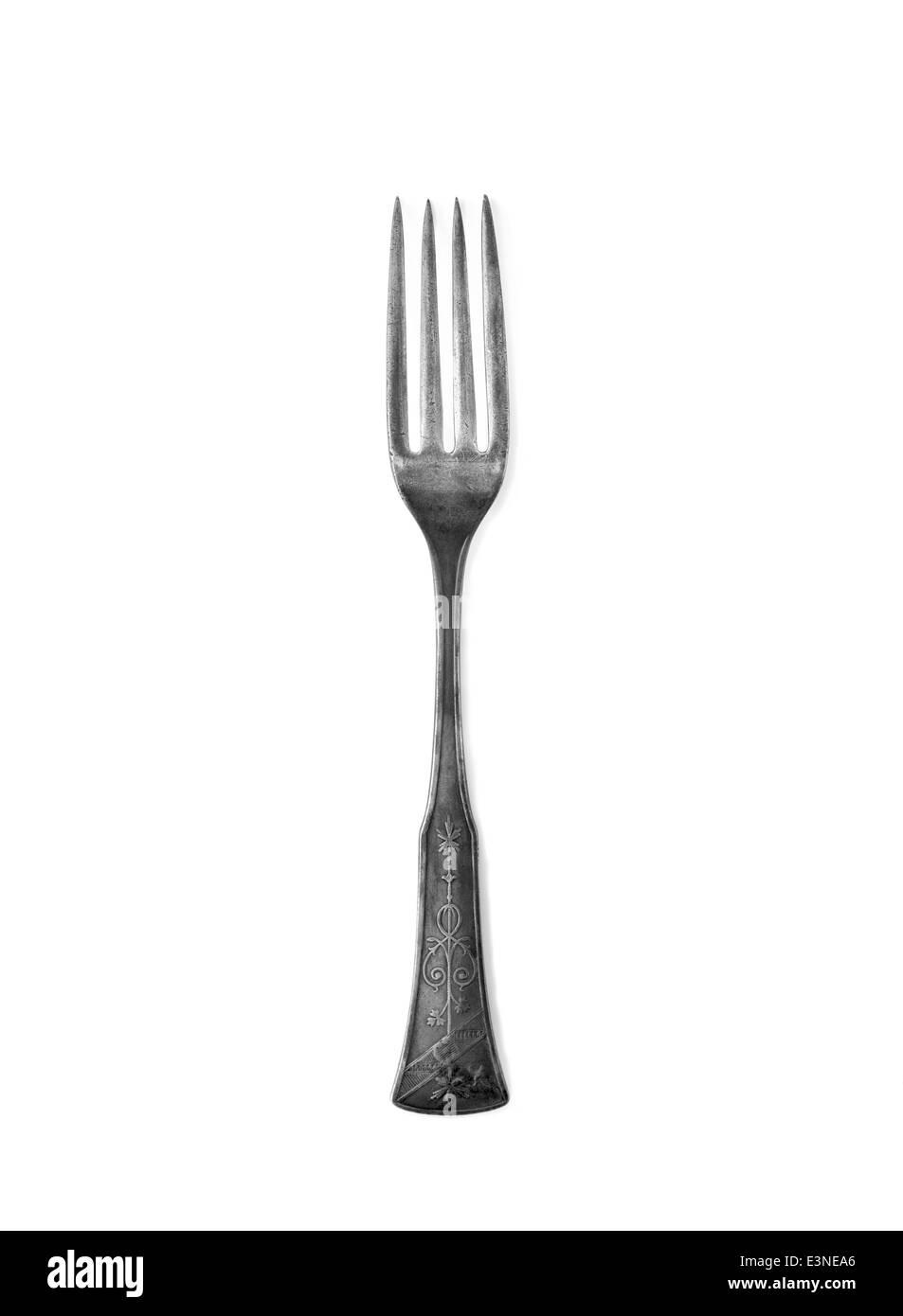 Vintage Kitchen Fork on a white background - Stock Image