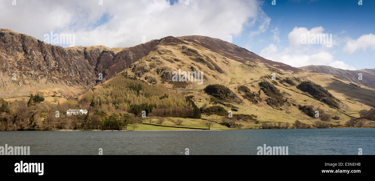 UK, Cumbria, Lake District, Buttermere, view across lake to Dalegarth and Robinson, panoramic - Stock Image