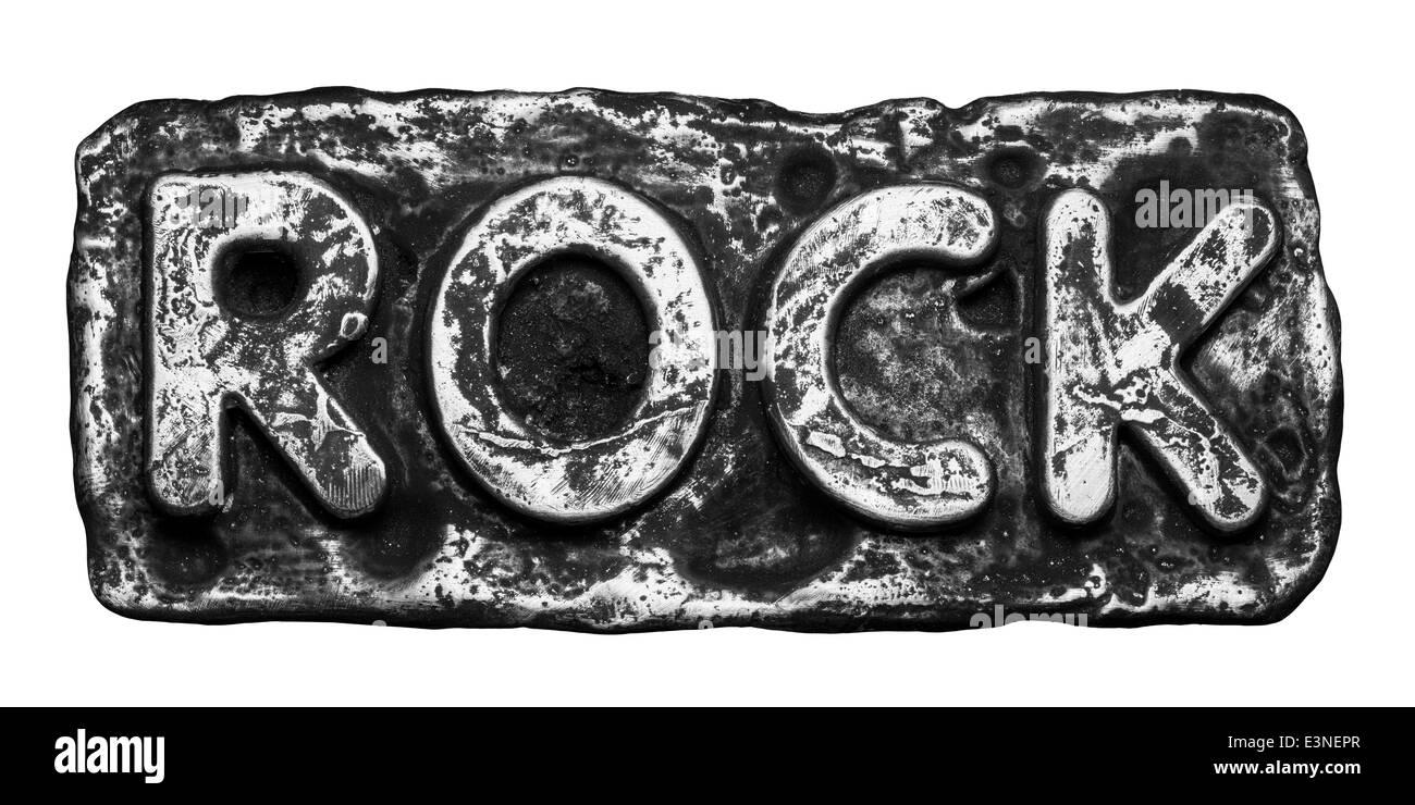 Rock word made of metal - Stock Image