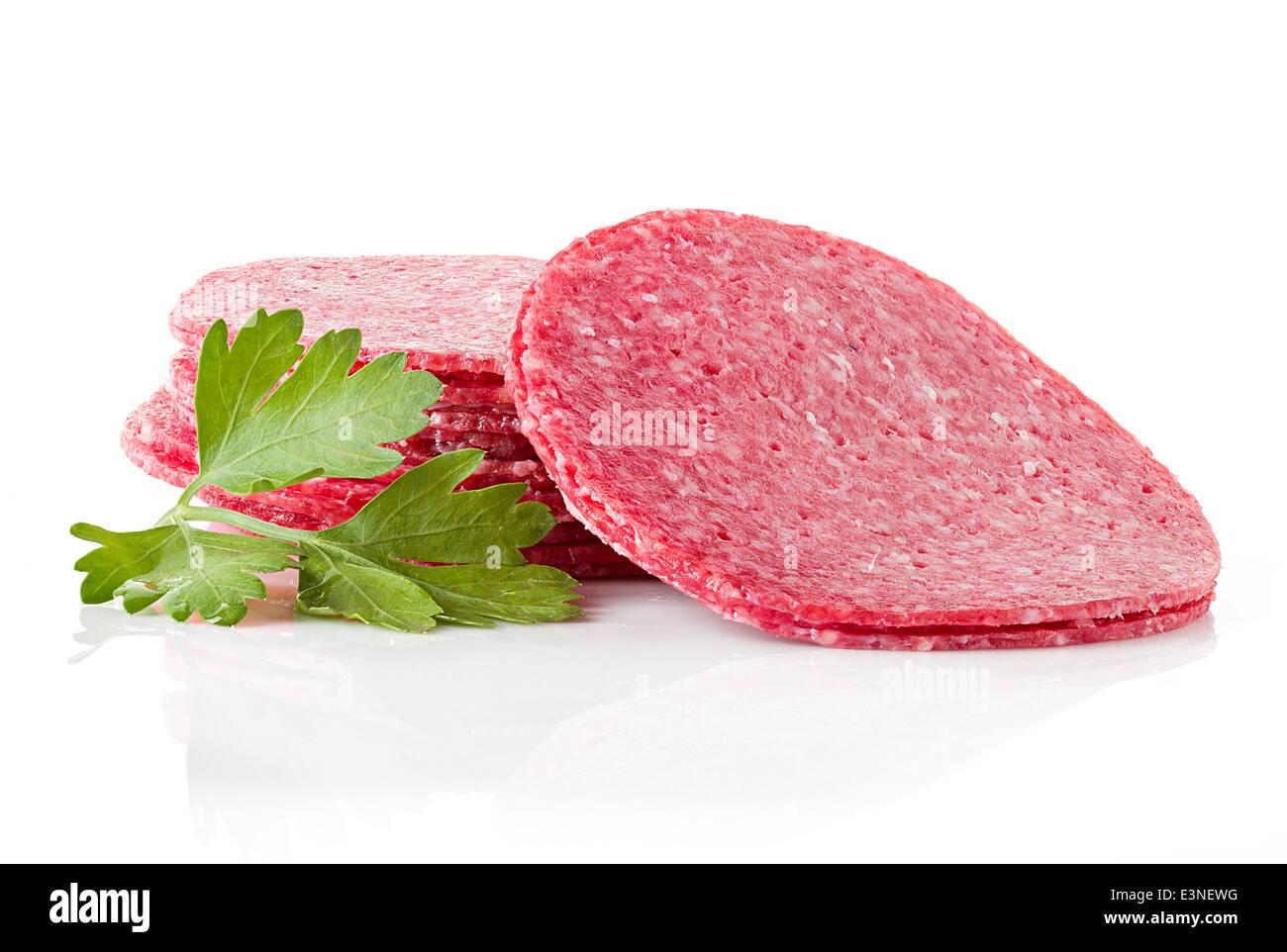 salami close-up isolated on white background - Stock Image
