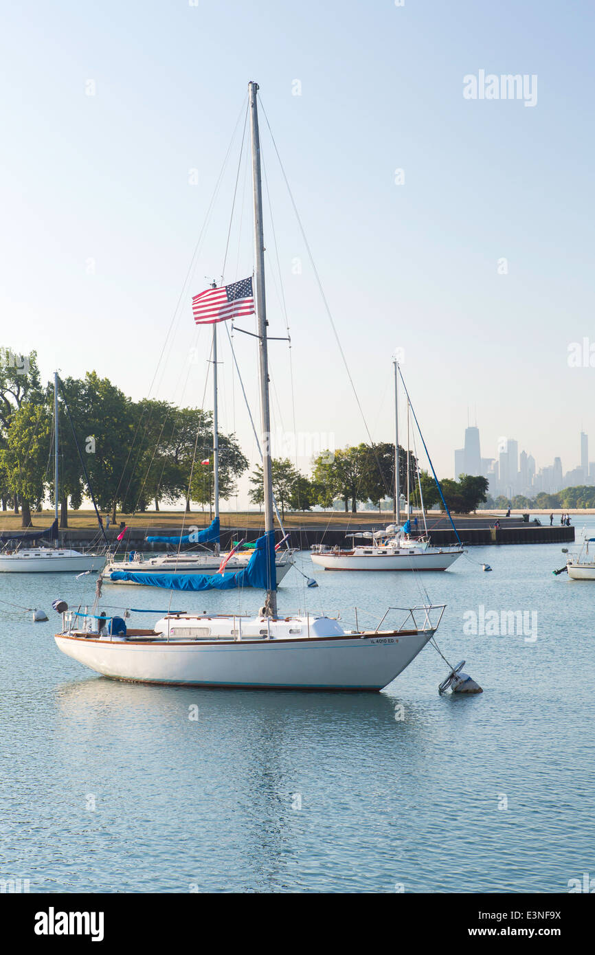 Lake Michigan, Chicago, Illinois, United States of America - Stock Image