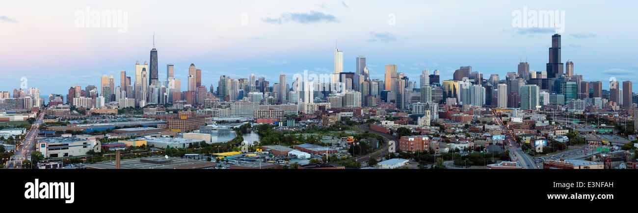 City skyline, Chicago, Illinois, United States of America - Stock Image