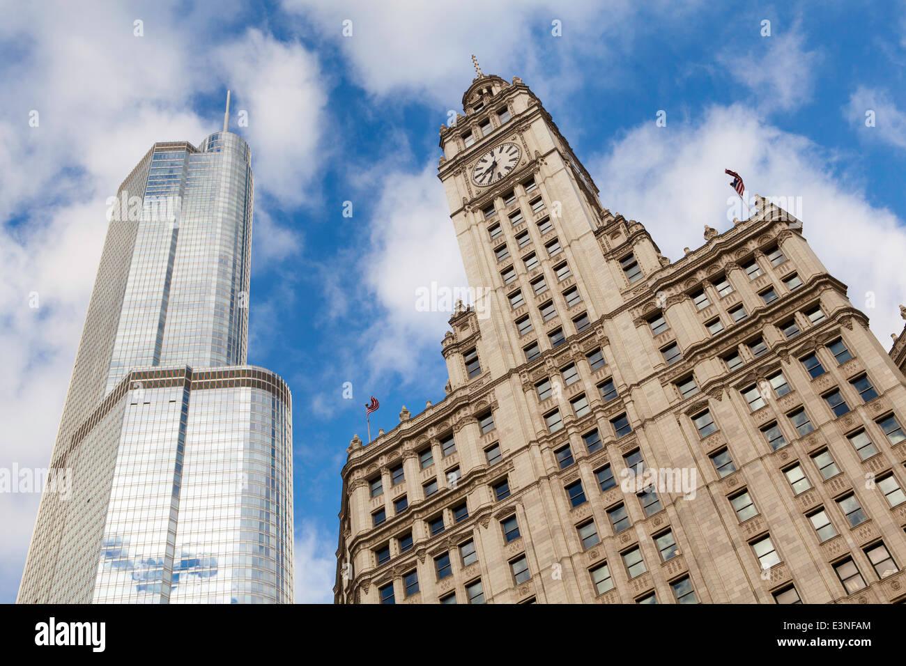 Downtown architecture, Chicago, Illinois, United States of America - Stock Image