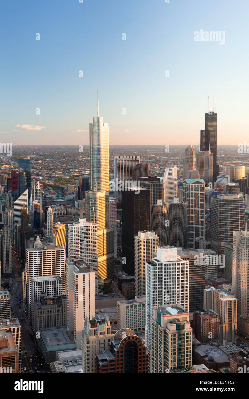 Downtown City Skyline, Chicago, Illinois, United States of America - Stock Image
