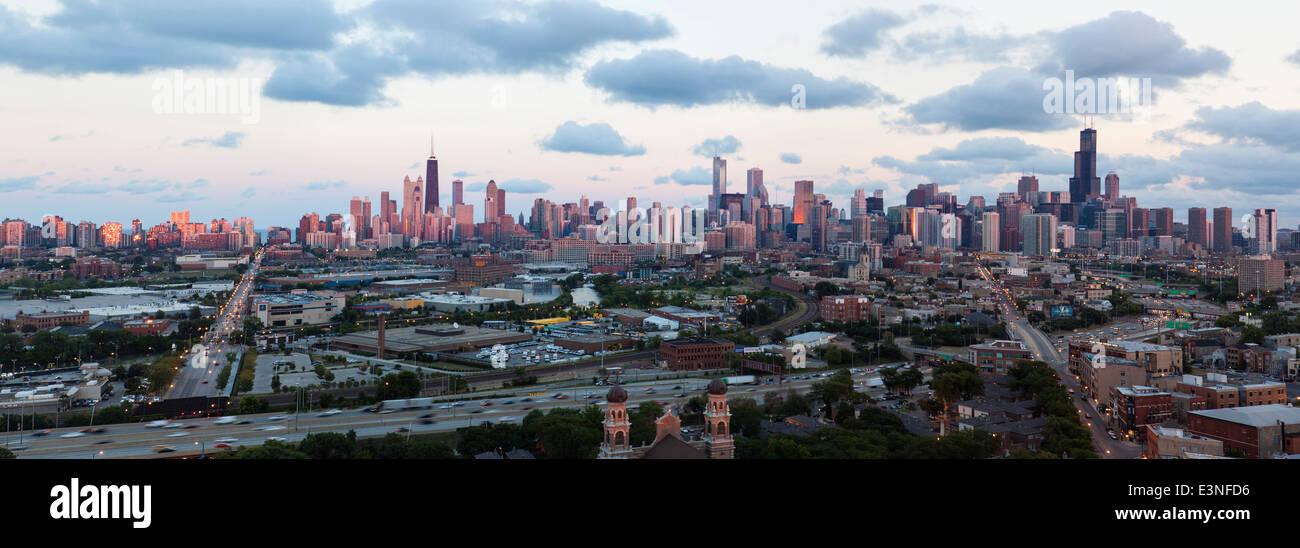Panoramic City Skyline, Chicago, Illinois, United States of America - Stock Image