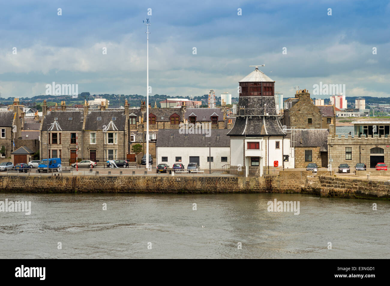 OLD ROUNDHOUSE ON ABERDEEN HARBOUR NORTH PIER SCOTLAND - Stock Image