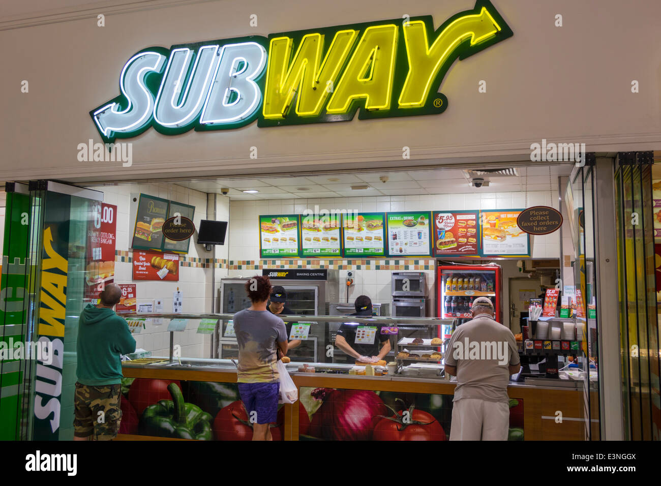 Brisbane Australia Queensland Fortitude Valley Metro food court front entrance counter concession Subway sandwich - Stock Image