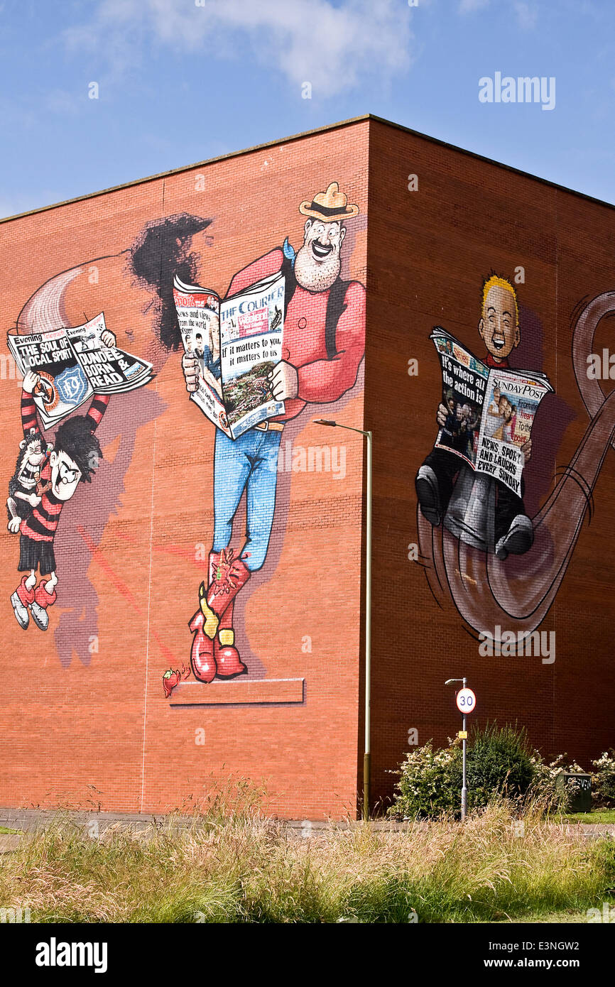 Dundee ,Tayside, Scotland, UK, June 26th, 2014, Recently painted Dundee Icons Desperate Dan, Oor Wullie and Dennis Stock Photo