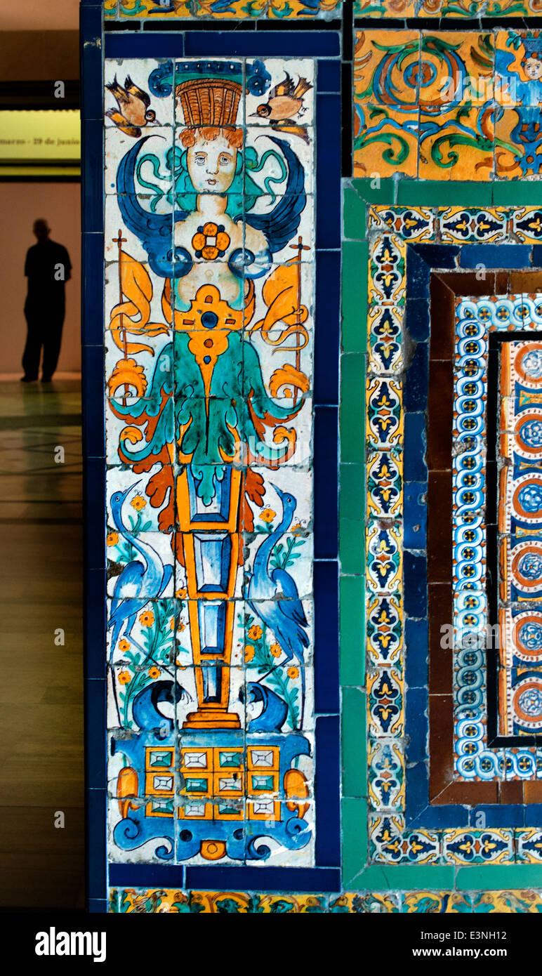 Museo de Bellas Artes de Sevilla Tiles TIle  Museum of Fine Arts Seville Spain Spanish - Stock Image